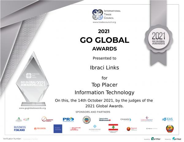 Ibraci Links se distingue dans la catégorie des technologies de l'information lors de la remise des prix Go Global 2021